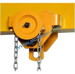 Ръчна верижна гредова/релсова количка/плъзгач със зъбна предавка 10 000 кг, 125-203 мм, 3 м верига ПО ЗАПИТВАНЕ
