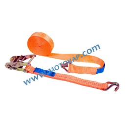Укрепващ колан 2,5т/6,0м (0,5 + 5,5) 35 мм с тресчотка и две куки, LC 1000 daN