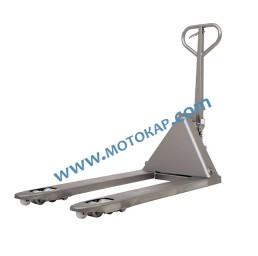 Транспалетна количка полунеръждавейка с широки вилици 1130 х 685 мм