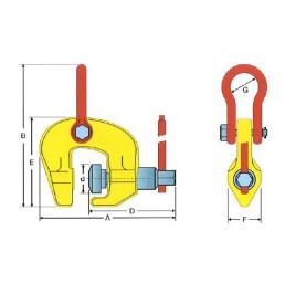 Лапа/захват за ламарина и профили японска 1,0 тон, SF 4:1, 50-100 мм