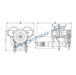 Ръчна гредова количка 20 000 кг със зъбна предавка, 136-300 мм, 3 м верига ПО ЗАПИТВАНЕ