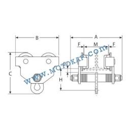 Ръчна гредова количка 2000 кг, 76-165 мм, тип PT