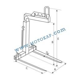 Палетни вилици за кран (кранови вилици) 2000 кг, тип FR-A