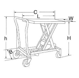 Хидравлична ножична платформена количка Н03091, 300 кг/910 мм, 825х502 мм