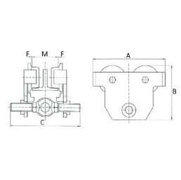 Ръчна гредова количка 2000 кг, 160 – 305 мм, тип PT-HL