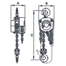 Ръчна верижна лебедка 3000 кг, 6 метра, тип HL-H