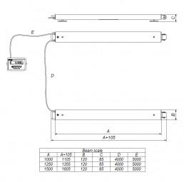 Измервателни греди серия IG-INOX, 1,5 т., 1500 мм