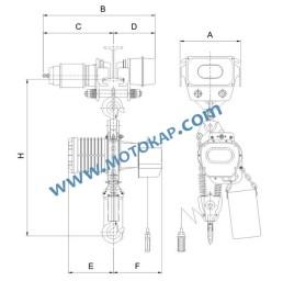Ел. верижен подемник с ел. количка на 220V YSM, 2 т. радиоуправление