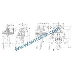 Ел. верижен подемник/телфер с ръчно хоризонтално задвижване 15,0 т. 380 V 50 Hz 2 скорости