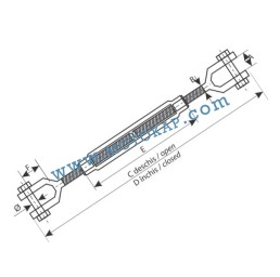Обтегач вилка-вилка M14х135 мм, 1,35 тона, тестван, DIN 1480