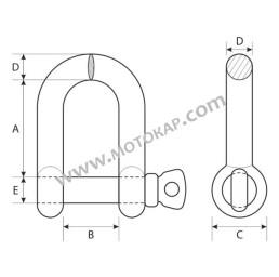 Шегел прав 0,8 тона от неръждаема стомана за въже ø16,0 мм