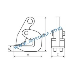 Хоризонтална лапа/захват за ламарина 5000 кг, тип DN