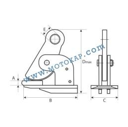 Хоризонтална лапа/захват за ламарина 2,5 тона 0 ÷ 60 мм SF 4:1