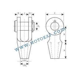 Накрайник (вилка) за стоманено въже 23-26 мм, тип OSS