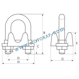 Скоба за въже 41,0-42,0 мм лята електропоцинкована, EN 13411-5