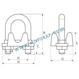 Скоба за въже 48,0-52,0 мм лята електропоцинкована, EN 13411-5