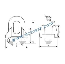 Скоба за въже 16.0 мм електропоцинкована, DIN 1142, тип 1142