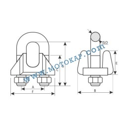 Скоба за въже 22.0 мм електропоцинкована, DIN 1142, тип 1142