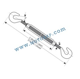 Обтегач кука-кука M16х170 мм, 1,8 тона, тестван, DIN 1480