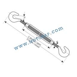 Обтегач кука-кука M22х220 мм, 3,26 тона, тестван, DIN 1480