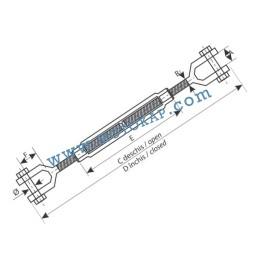 """Обтегач вилка-вилка 3/4x6"""" (19,1/152 мм), 2,36 тона, тестван, DIN 1045"""
