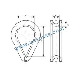 Кауш (гаша) DIN 6899B за въже 6,0 мм, тип RO