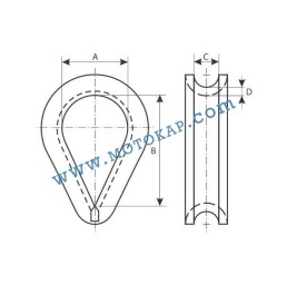 Кауш (гаша) DIN 6899B за въже 22,0 мм, тип RO