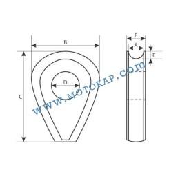 Кауш плътен DIN 3091 за въже 18,0 мм, тип ROD