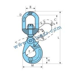 Кука въртяща самозаключваща се клас 10, 2,5 тона, тип GR100-KRA, SF-4:1