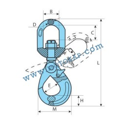 Кука въртяща самозаключваща се клас 10, 6,7 тона, тип GR100-KRA, SF-4:1