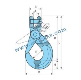 Кука за верига самозаключваща клас 10, 19,0 тона, тип GR100-KAL, SF-4:1