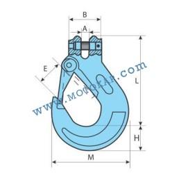 Кука за верига ø22 мм с палец клас 10, 19,0 тона, тип 100-KSL, SF-4:1