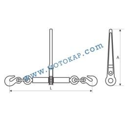 Верижен обтегач с тресчотка, кл. 10 GR100-INT, 8000/10000 daN, за верига 10 мм