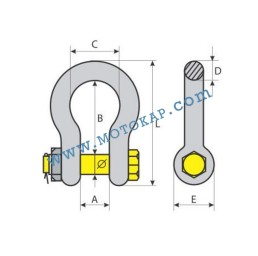 Омега шегел с контрагайка и шплент, 0,5 тона, тип CT.03, SF-6:1