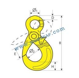 Кука с ухо самозаключваща 12,5 тона, клас 8, KOA, SF-4:1