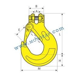 Кука за верига ø22 мм с палец 15,0 тона, клас 8, KSL, SF-4:1
