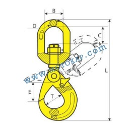 Кука въртяща самозаключваща се 5,3 тона, клас 8, тип KRA, SF-4:1
