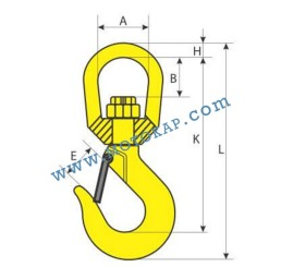 Кука въртяща 1,12 тона, клас 8, тип KRS, SF-4:1