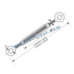 Обтегач ухо-ухо M6х110 мм, 0,23 тона, тестван, DIN 1480