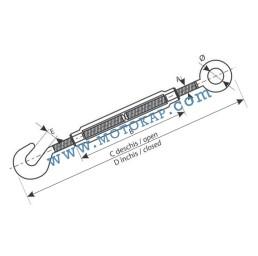 Обтегач ухо-кука M12х125 мм, тестван, DIN 1480