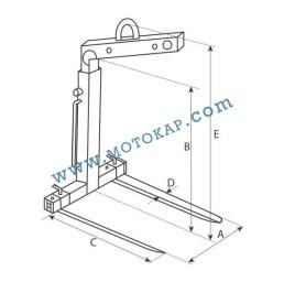 Палетни вилици за кран (кранови вилици) 2000 кг, тип FR-B