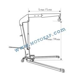 Складов виличен кран хидравличен подвижен (сгъваем) 2000 кг
