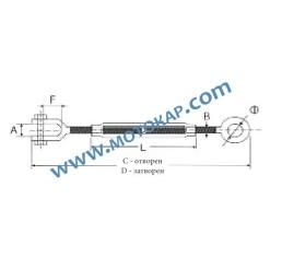 Обтегач ухо-вилка M30х255 мм, 6,37 тона, тестван, DIN 1480