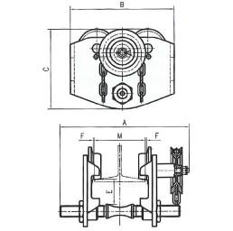 Ръчна гредова количка със зъбна предавка 1000 кг, 50-220 мм, 3 м верига, GT-H