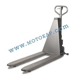 Полуелектрическа ножична транспалетна количка 1000кг/800мм неръждавейка