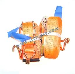 Колан укрепващ 5.0т/10.0м (9.5+0.5м) с тресчотка и 2 куки - оранжев