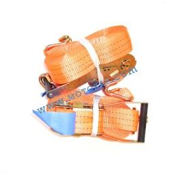Колан укрепващ 3.0т/10.0м (9.5+0.5м) с тресчотка и 2 куки - оранжев