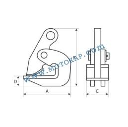 Хоризонтална лапа/захват за ламарина 2000 кг, тип DN