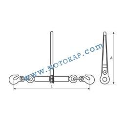 Верижен обтегач с тресчотка, тип К, 1,18 т, 4000/8000 daN, за верига 6/8 мм