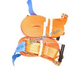 Колан укрепващ 3.0т/12.0м (11.5+0.5м) с тресчотка и 2 куки - оранжев